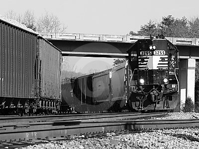 Freight Train On A Curve 2 Royalty Free Stock Photo - Image: 3085525
