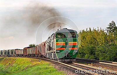 Freight train hauled by diesel locomotive