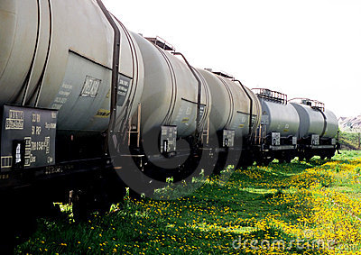 Freight wagons on a grass