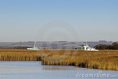 Freighter sailing through the reeds