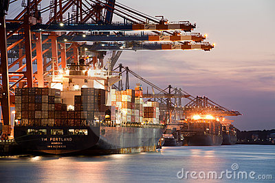 Freighters - Container Ships in Port Editorial Stock Photo