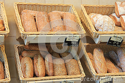 French bread in a shop