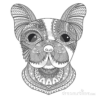 French Bulldog Puppy Zentangle Stylized For Coloring Book