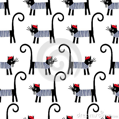 French cat seamless pattern. Cute cartoon parisian cat vector illustration. Vector Illustration