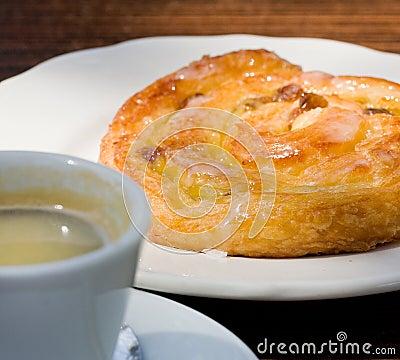 French cinnamon roll and espresso coffee