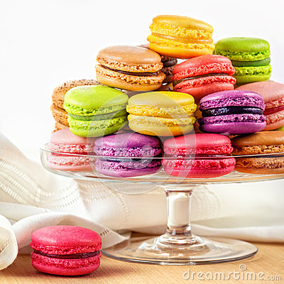 Free French Colorful Macarons In A Glass Cake Stand Royalty Free Stock Photo - 37386995