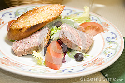 French country style pork terrine pate salad