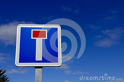 French dead end street road sign Stock Photo