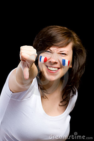 French female supporter shows thumb down gesture