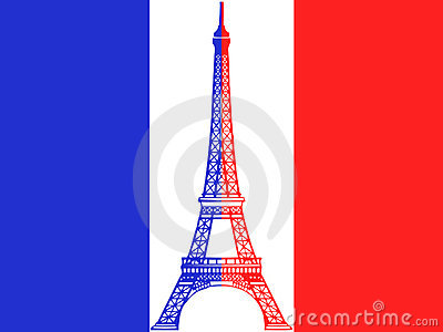 French flag and Eiffel Tower