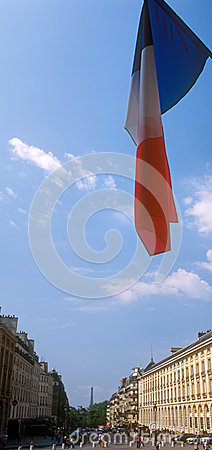 French flag over a Paris.