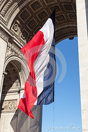 Free French Flag Triumphal Arch. Royalty Free Stock Photography - 34112297