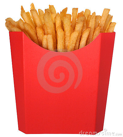 French fries in fast food carton