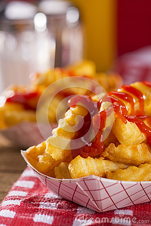 Free French Fries In A Diner Royalty Free Stock Image - 52611256