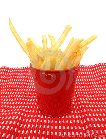 French fries potatoes in a red cup