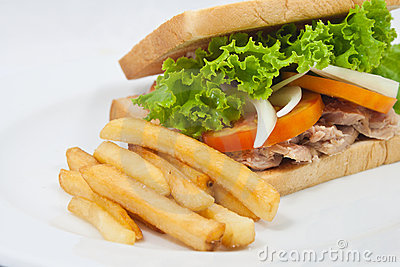 French fries with sandwich tuna