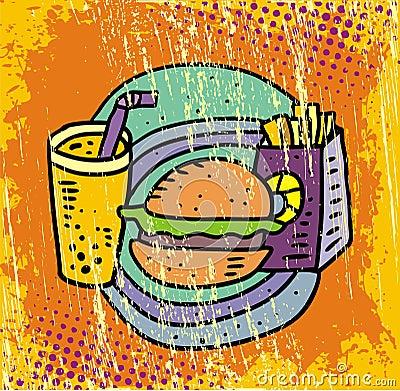 French fries, soda and hamburger