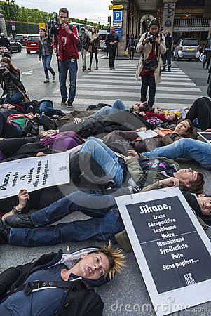 French Gay AIDS, Act Up Paris, Flash Mob Editorial Stock Photo