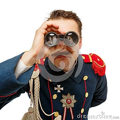 French general with beautiful mustache looking through binocular