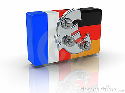 French and german flag screwed with a euro symbol