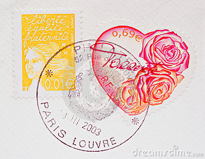 French Heart Shaped Postage Stamp