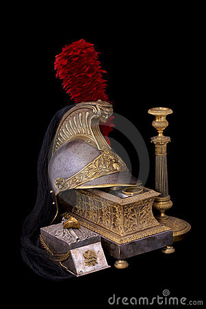 French helmet, inkstand and candlestick