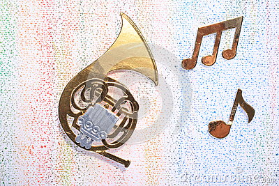 French Horn With Musical Notes