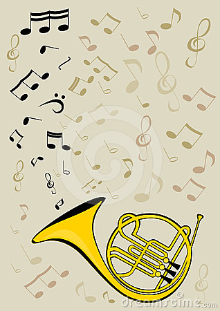 French horn and notes