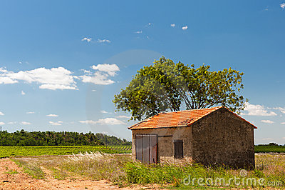 French landscape with barn