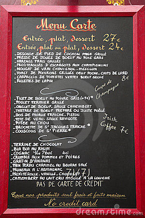 French language menu, Paris, France