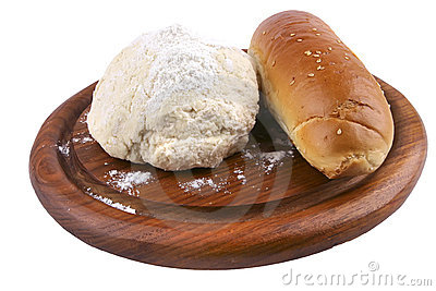 French loaf and dough