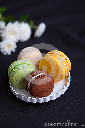 French macarons on plate