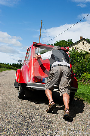 French man with car break down
