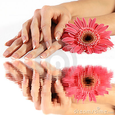 French manicure with flower in reflection