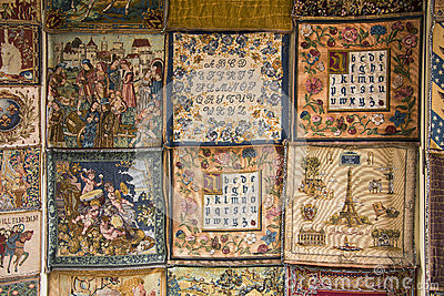 French Medieval Style Tapestry Samples Editorial Photography