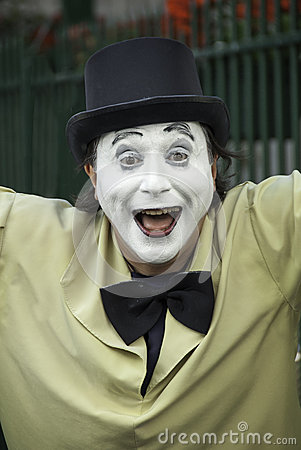 French Mime with a joyful expression Editorial Stock Image