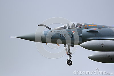 French Mirage approaching to land Editorial Stock Photo