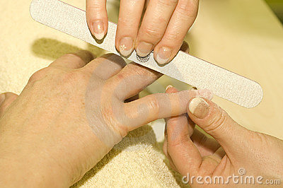 French nail manicure closeup