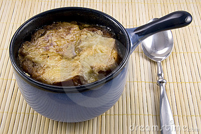 French Onion Soup in Blue Crock