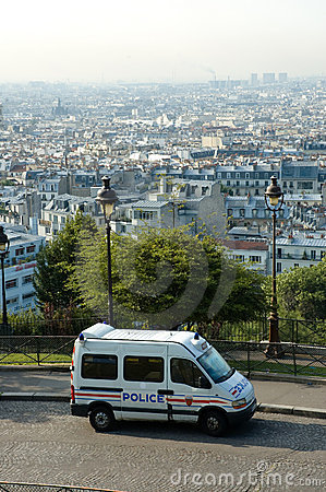 French police van in Montmartre