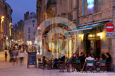 French Pub in Besancon Editorial Stock Image