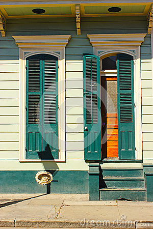 French Quarter Home With Blue Shutters Stock Photo Image 55825746