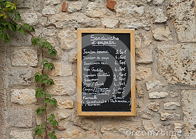 French restaurant menu board
