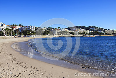 French Riviera in winter, lonely beach Cannes, France Editorial Stock Photo