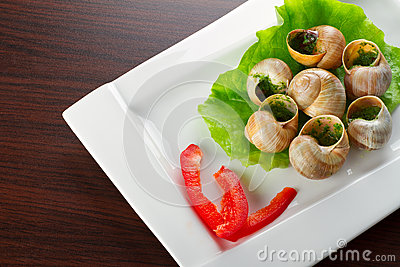 French snails in garlic butter