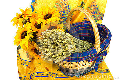 French still life with sun flowers