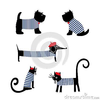 French style animals set. Cute cartoon parisian dachshund, cat and scottish terrier vector illustration. Vector Illustration