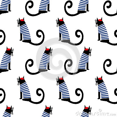 French style cat seamless pattern. Cute cartoon sitting parisian cat vector illustration. Vector Illustration