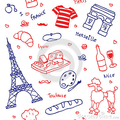 French symbols and icons seamless pattern