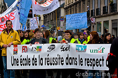 French Teachers Strike Editorial Stock Photo